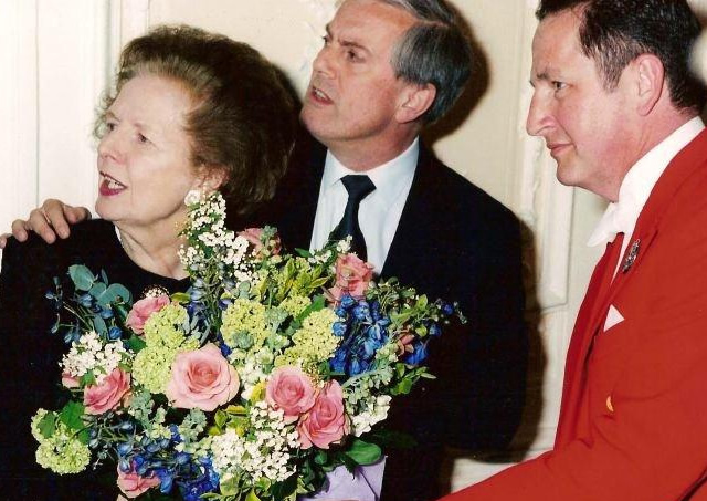 With Margaret Thatcher and Gyles Brandreth